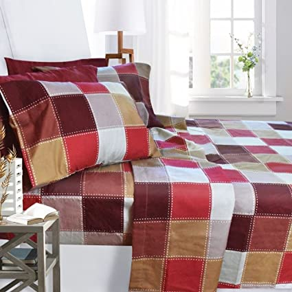 Printed Bed Sheet Set, Queen Size   Checkerboard   By Clara Clark, 6 Piece