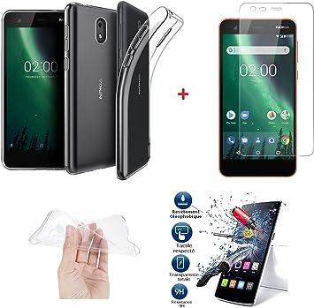 iPOMCASE Pack irrompible * – Carcasa Flexible Transparente + película Cristal Pantalla Protector Vidrio Templado para Nokia 2: Amazon.es: Electrónica