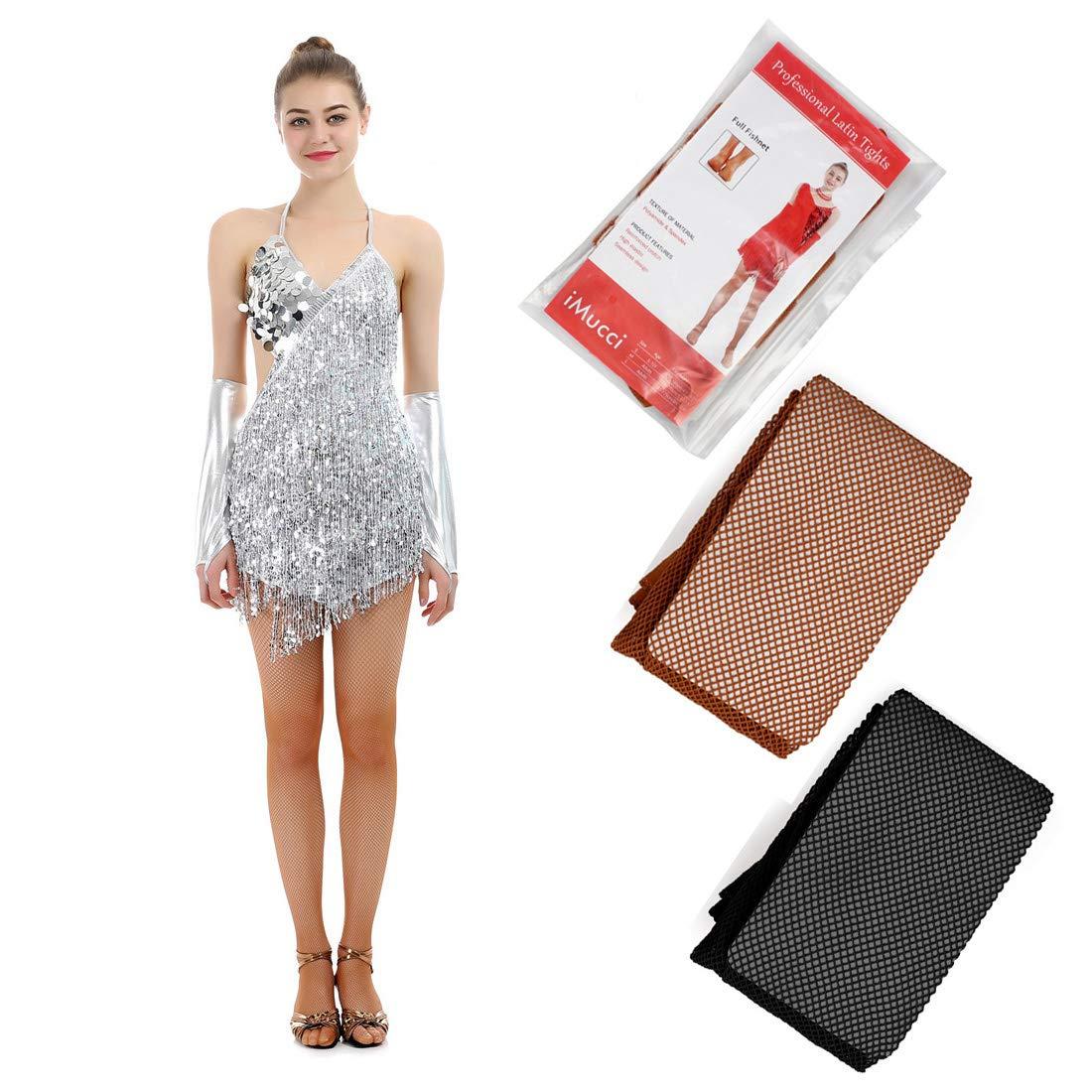 9e542fe02c0 Amazon.com  iMucci Professional Women Latin Tights - Fishnet Stockings Girl  Pantynose for Samba Tango Dancing Brown Collants Black Tan  Clothing