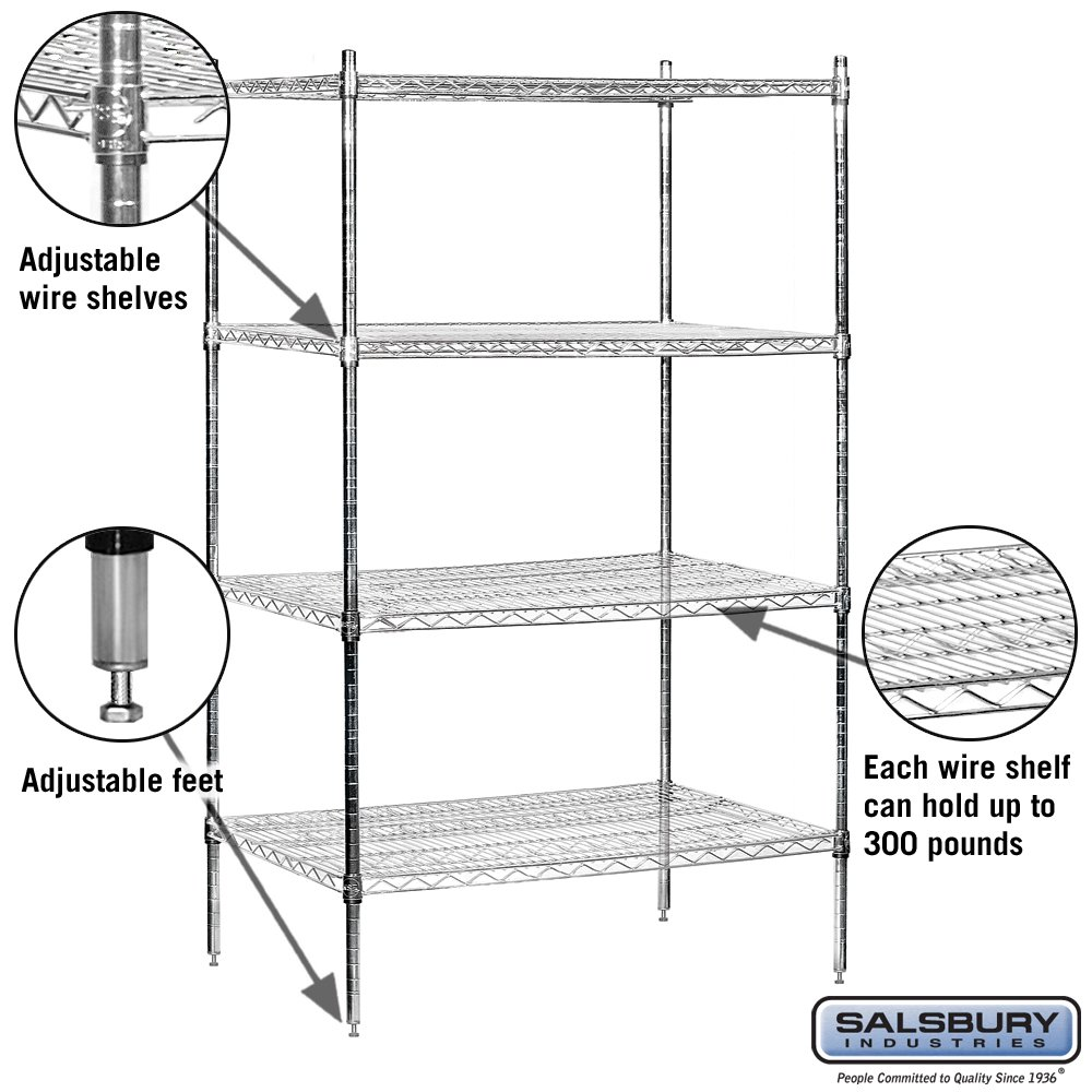 Salsbury Industries Stationary Wire Shelving Unit, 36-Inch Wide by 74-Inch High by 24-Inch Deep, Chrome