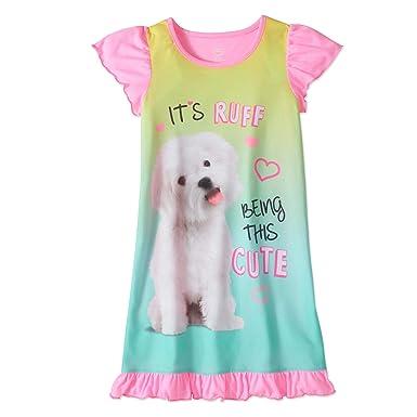 Wonder Nation Girls Short Sleeve Ruffle Sleep Gown (4-5, Cotton Candy Puppy