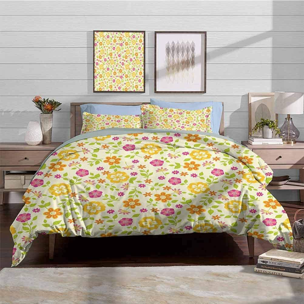 HouseLook Bedding Duvet Cover Set Floral Toddler Bedding Sets Colorful Spring Themed Flower Petals Summer Florets Funky Girls Design Decorative 3 Piece Bedding Set with 2 Pillow Shams, Full Size