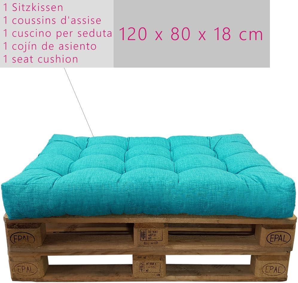 Variante:1x Asiento 120x80 cm Color:Turquesa NO ES UN Set! DILUMA Cojin para pal/és Confort Repelente a Las Manchas Cojin de Asiento o Respaldo para sof/ás palets