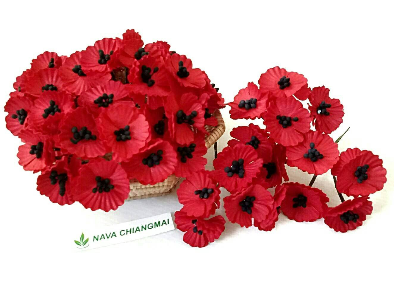 Amazon Nava Chiangmai 50 Pcs Red Poppy Mulberry Paper Flower 20