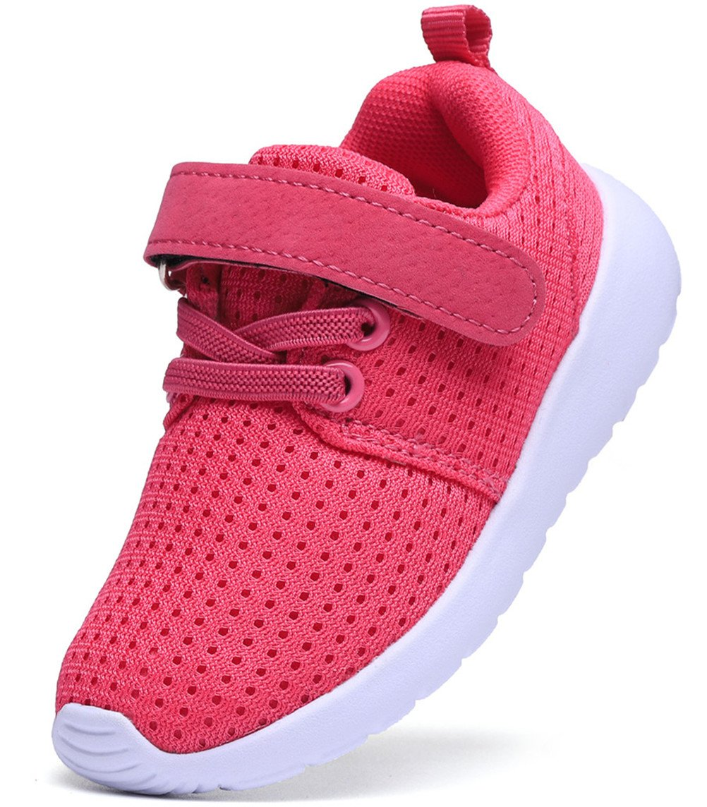 DADAWEN Baby's Boy's Girl's Lightweight Breathable Sneakers Strap Athletic Running Shoes Hot Pink US Size 5 M Toddler