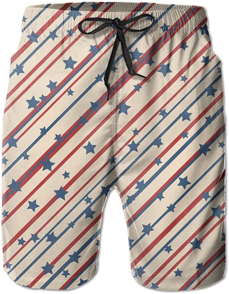 LUASD Mens USA Star Independence Day Flag Quick Drying Breathable Beach Pants Swim Trunks