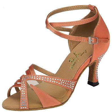 CFP - Zapatillas de danza mujer , color Dorado, talla 38,5 EU(6 cm)