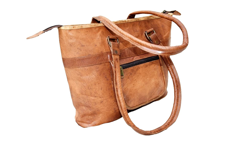 Rust Leather Women's Leather Tote Bag Women Handbag 14x11x3 Inches Brown / Tan