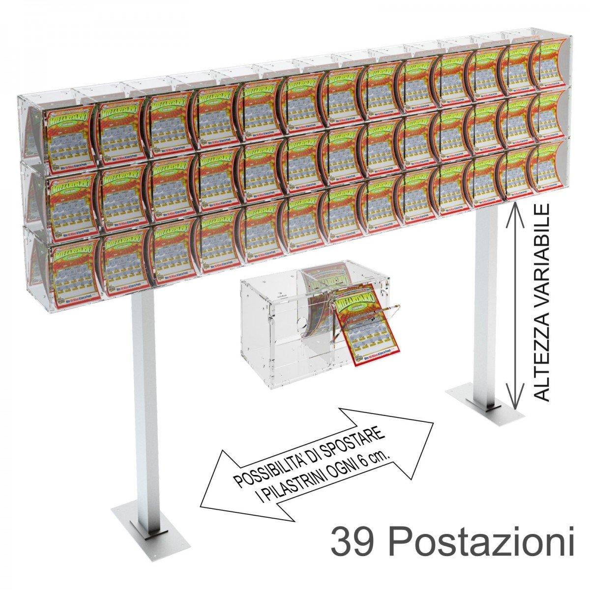 Espositore gratta e vinci da banco in plexiglass trasparente a 39 contenitori munito di sportellino frontale lato rivenditore
