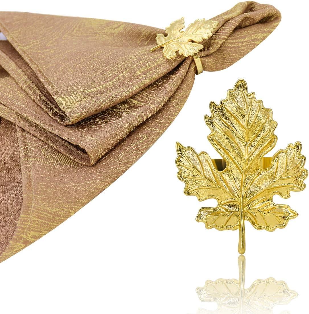 JulyLab Leaf Napkin Rings Set of 8 Maple Serviette Buckle Holder Retro Metal Home Table Decor for Wedding Holiday Family Gatherings Everyday Use (Leaf Gold, 8)