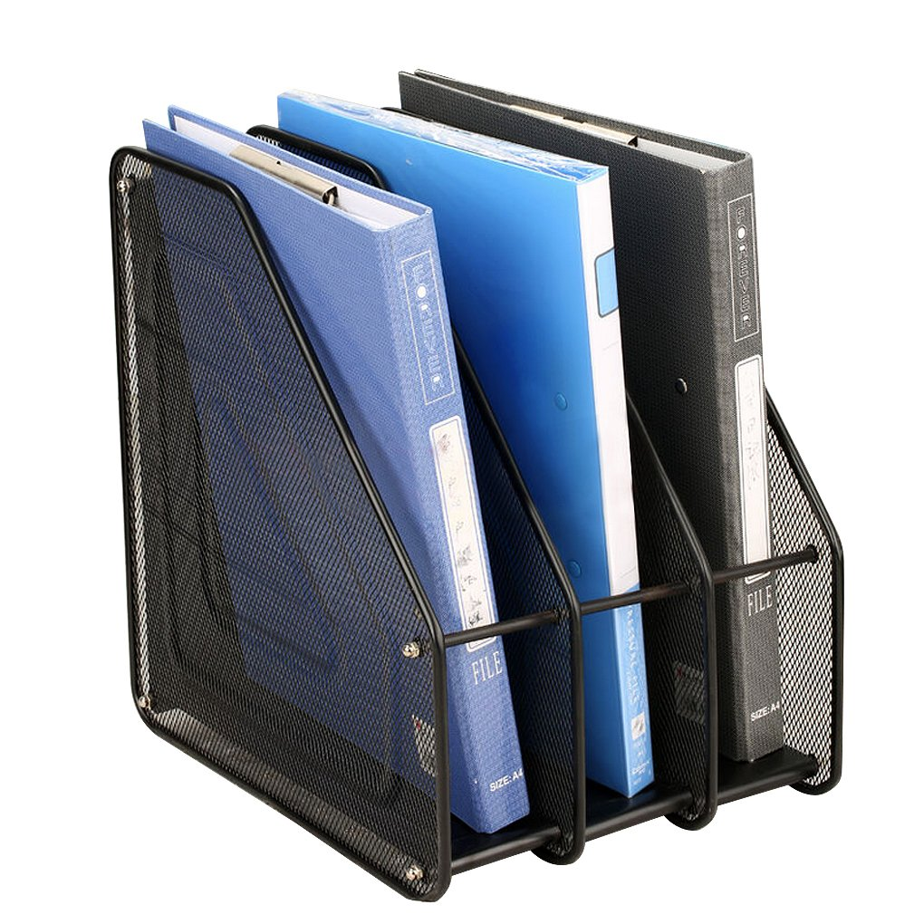 Heavy Duty Metal Magazine Literature File Holder Desktop Document Paper Organizer Storage Rack Box Mesh Book Collection Stacking Sorter Decor for Home School Office, 3 Slot, Black