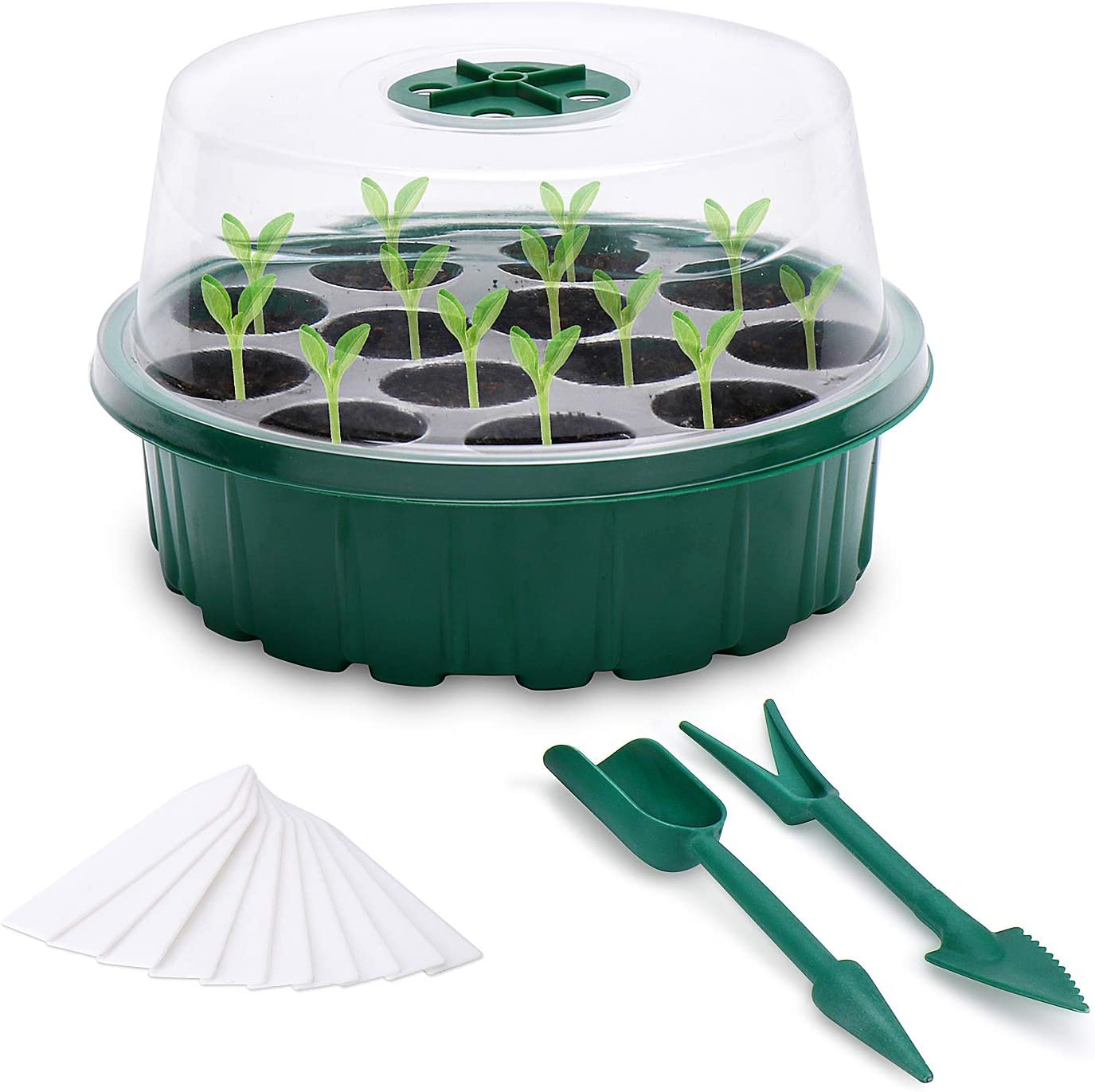 Araktin 10 Pack- Round Seed Starter Tray, Humidity Vented Domes and Transparent Seedling Tray Grow Germination Kit with Drain Holes, for Seeds Growing Starting (Green)