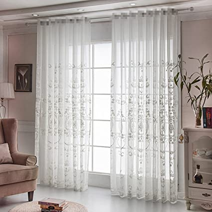AliFish 1 Panel Rod Pocket Window Embroidery Voile Embroidered Sheer Curtain  Panel For Living Room Sliding