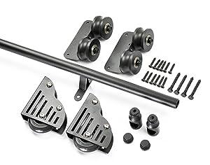 "DIYHD LT-30 Length 39-3/4"" Round Tube Sliding Library Hardware Rolling Full Set Track Kit(No Ladder), Rustic Black"