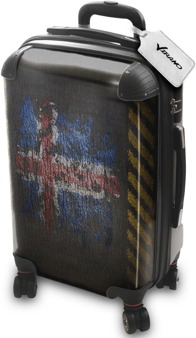 Bandera Pintada Islandia, Policarbonato ABS Spinner Trolley Luggage Maleta Rigida Equipaje con 4 Ruedas de 360° con Diseño Intercambiable. Tamaño: Aprobado cabina S
