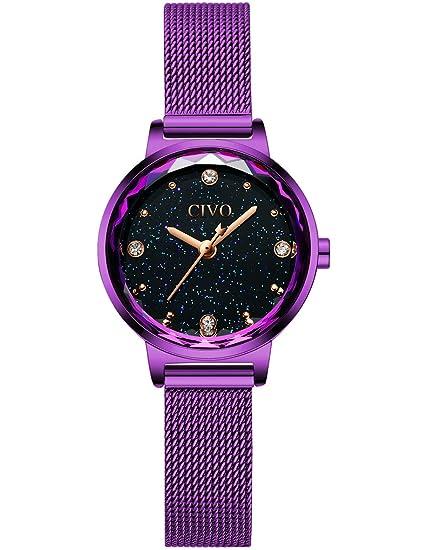 CIVO Relojes para Mujer Señoras Reloj Damas de Malla Impermeable Oro Rosa Elegante Banda de Acero Inoxidable Relojes de Pulsera Chicas Adolescentes ...