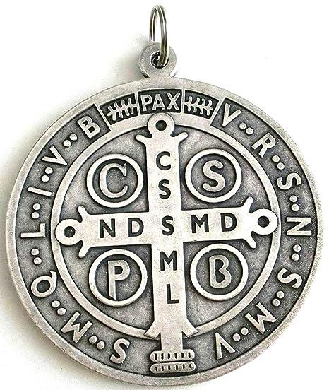 6bcfce61cf3 60.400.30 Arg Medalla San Benito plata tamaño 10 cm Saint Benedict esorcismo