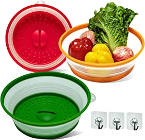 Microwave Cover for Food, Collapsible Colander Fruits/Vegetable Dish Drainer Basket, Food Cover for Microwave Oven, Fold-able Food Cover Splatter BPA-Free, 3 Pack, 6 Quart (1.5 gal)