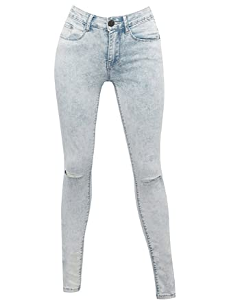 653559b8952 M Co Teen Girl Light Wash Denim Ripped Knee Full Length Skinny Jeans Scroll  White 134