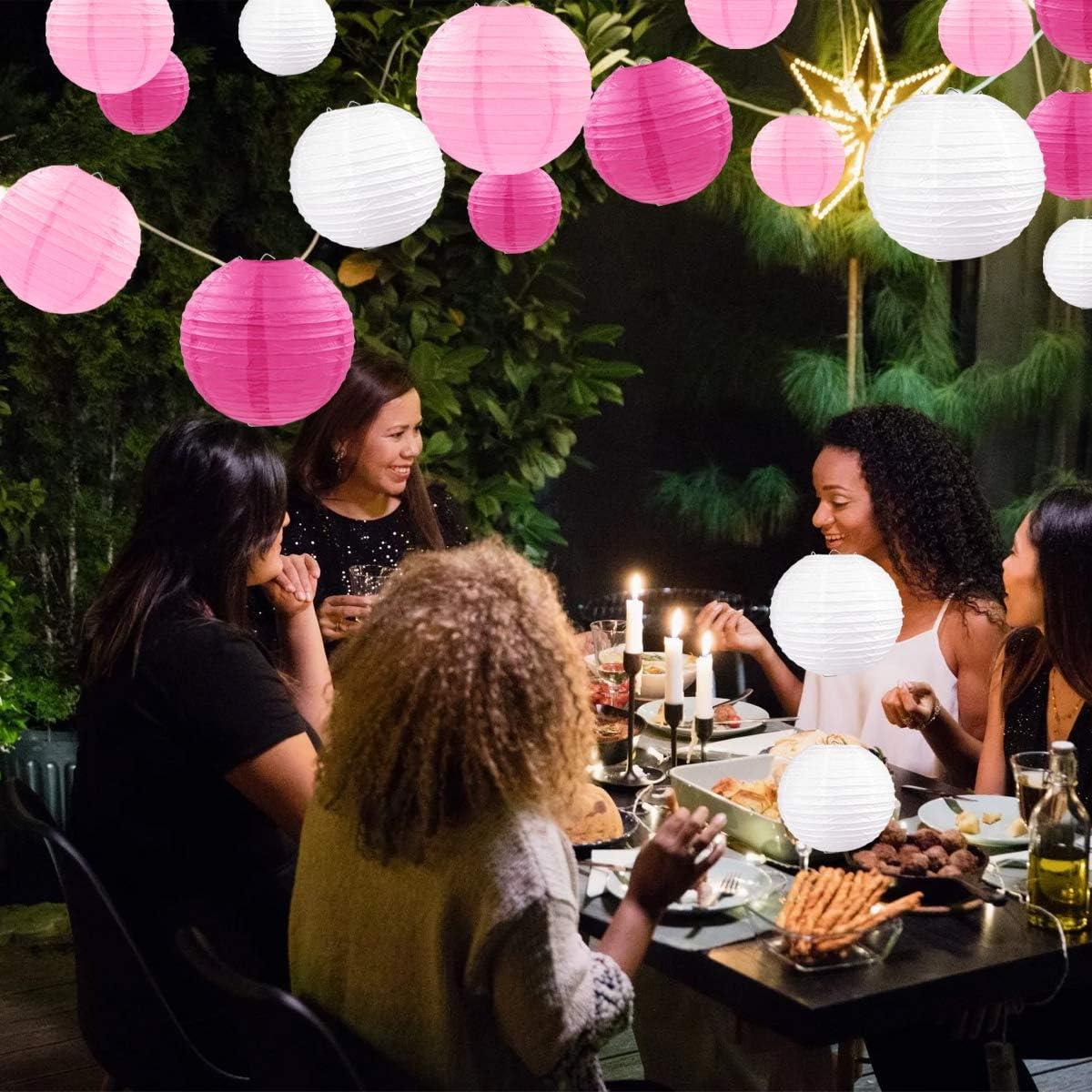 feste di nascita colore: Rosa Lanterne rotonde di carta per interni ed esterni 18 pezzi per compleanni Dudu matrimoni