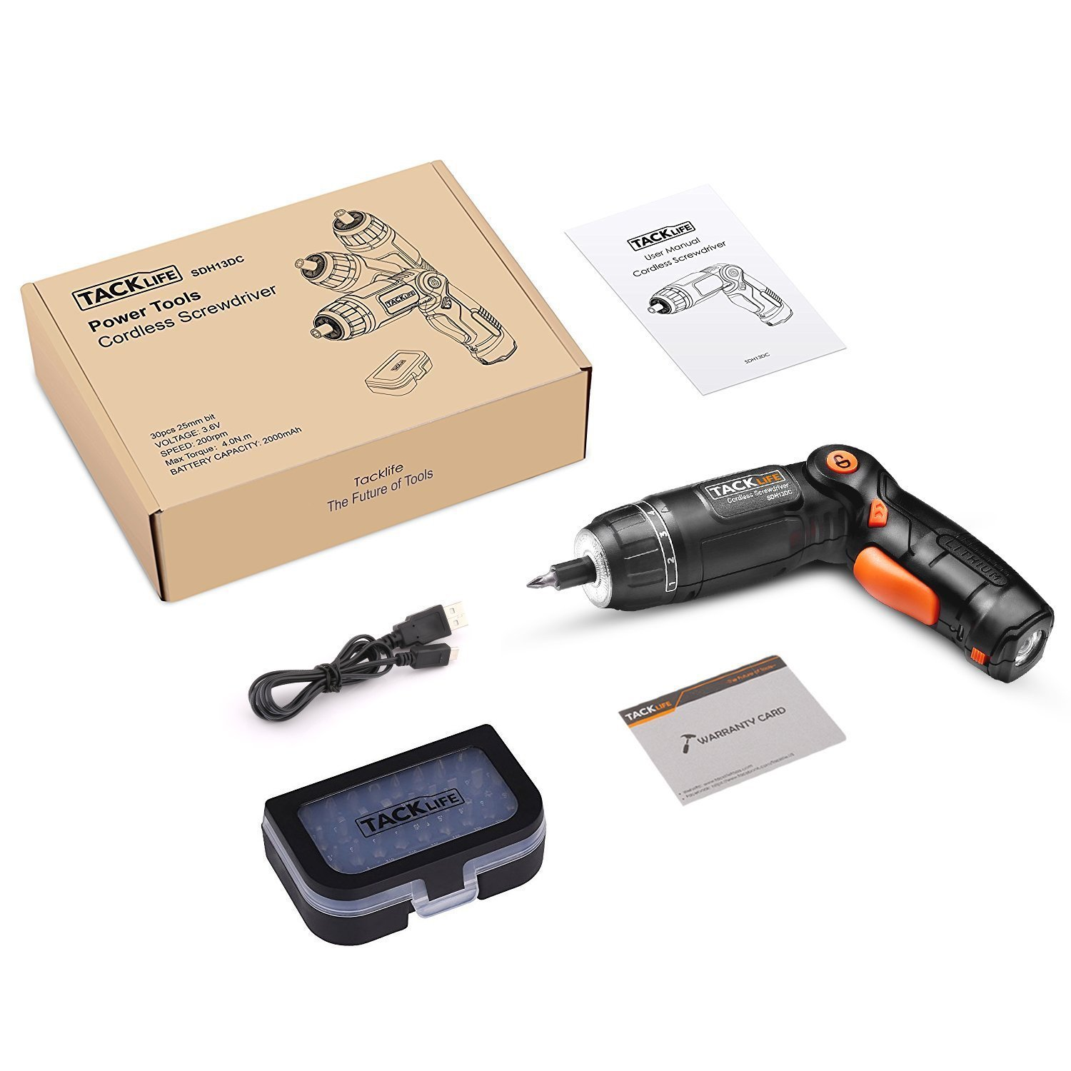 Tacklife SDH13DC Cordless Screwdriver 3.6-Volt 2000mAh MAX Torque 4N.m - 3-Position Rechargeable - 31 Screwdriver Bits in Case, 4 LED Light, Flashlight, USB Charging for Around House Small Jobs by TACKLIFE (Image #8)