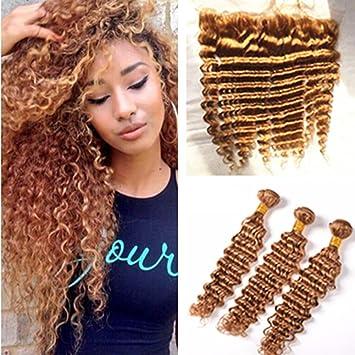 Marvelous Ruma Hair #27 Honey Blonde Brazilian Deep Wave Curly Virgin Human Hair Weave  3 Bundles Photo Gallery