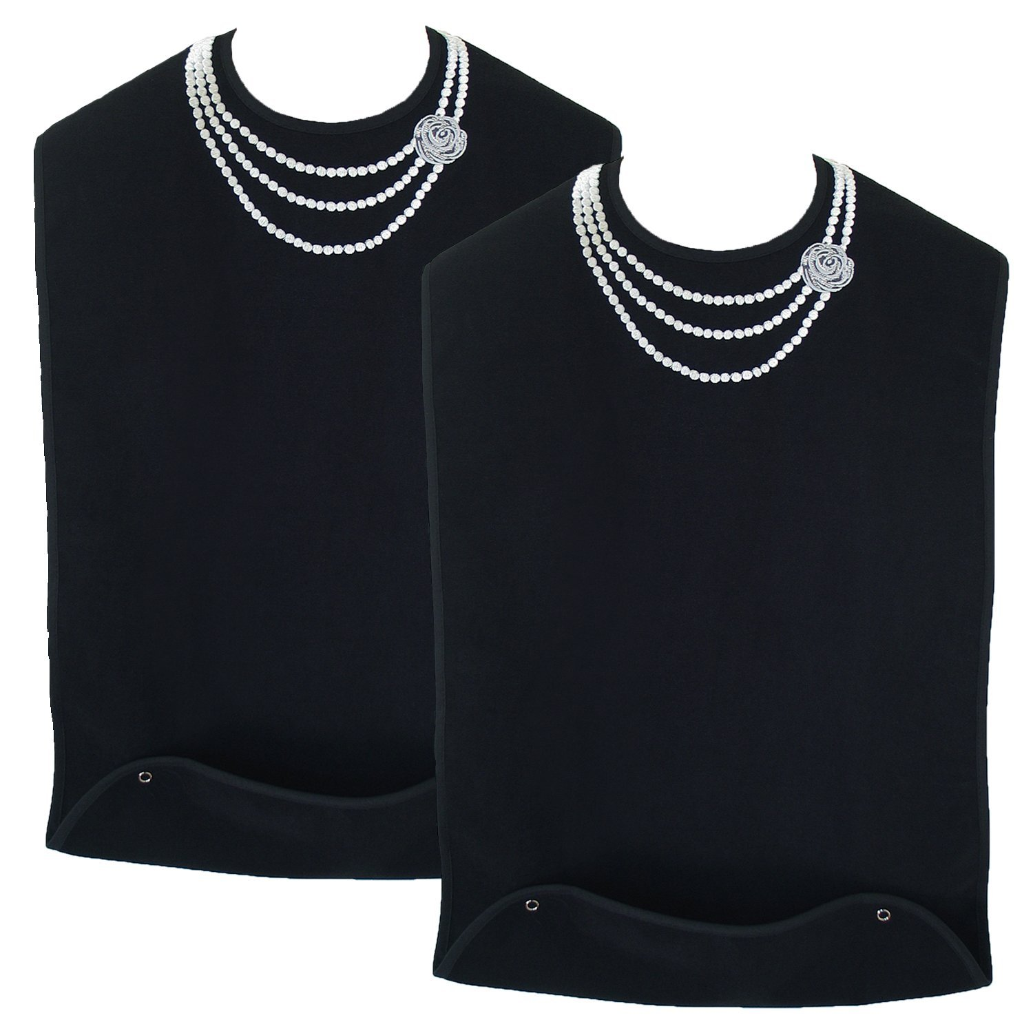 Classy Pal | Adult Bib for Women with Embroidered Design. Waterproof, Reusable & Washable | 2 Pack (Pearl Necklace + Pearl Necklace)