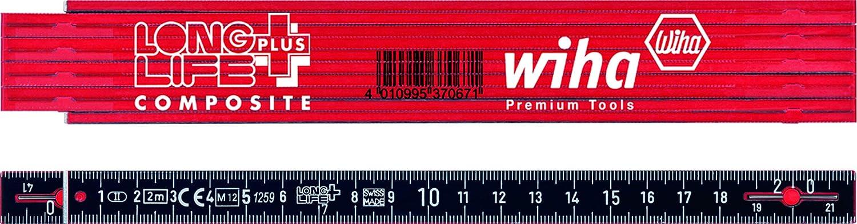 Wiha Gliederma/ßstab Longlife/® All in One 2 m metrisch 33232 10 Glieder wei/ß