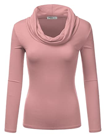 9be9b2c602b Doublju Lightweight Soft Knit Cowl Neck Top for Women with Plus Size (Made  in USA