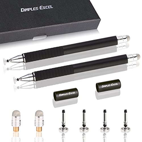 Dimples Excel 2 in 1 Precision Mini Jot Disc Fine Point and Micro-Knit Hybrid Fiber Tip Stylus / Styli with 4 Replacement Discs and 2 Micro-knit Hybrid Fiber Tips, 2 Pack