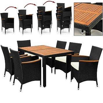 Salon de jardin polyrotin extérieur meubles ensemble Table 6 chaises ...