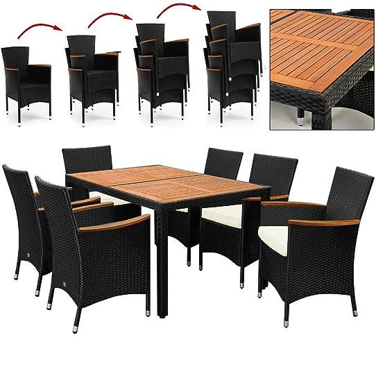 Salon de jardin polyrotin extérieur meubles ensemble Table 6 ...