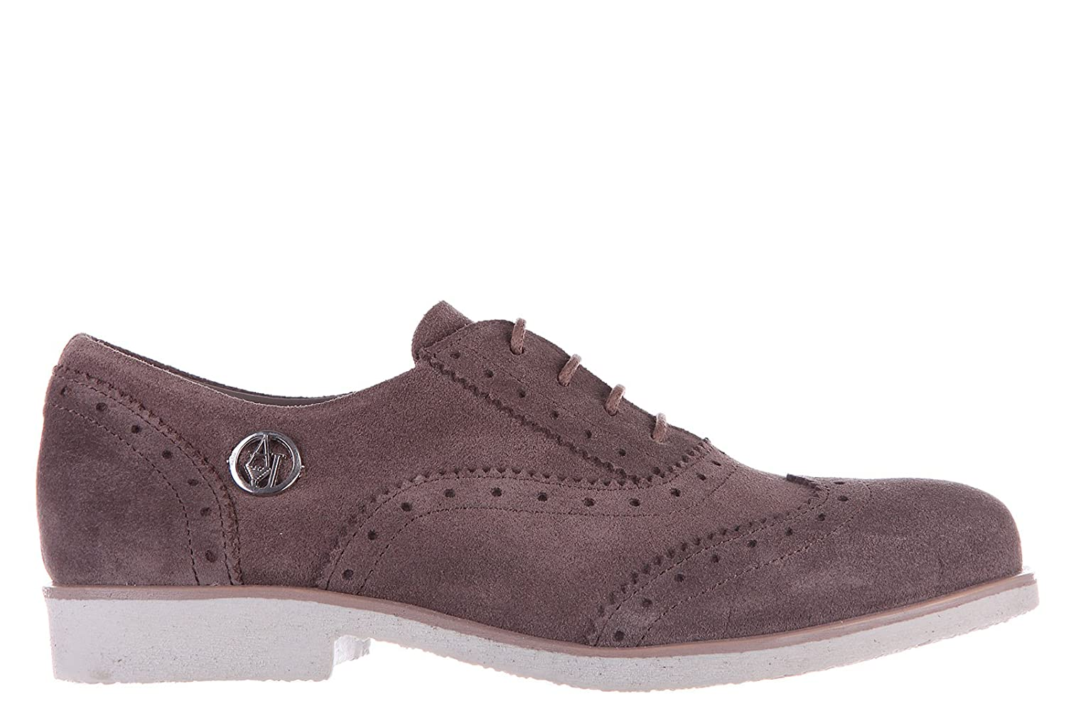 Armani Jeans women's classic suede lace up laced formal shoes brogue brown