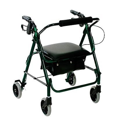 Patterson Medical - Andador con asiento (4 ruedas, frenos), color ...