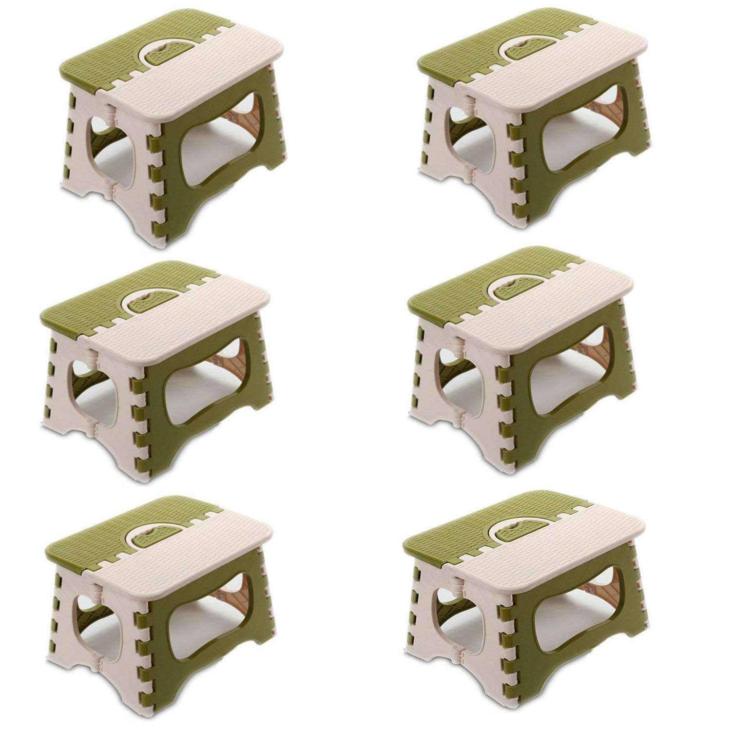 Green 6Pack Folding Step Stool,Lightweight Plastic Folding Step Stool for Kids and Adults with Handles (Khaki, 8Pack)