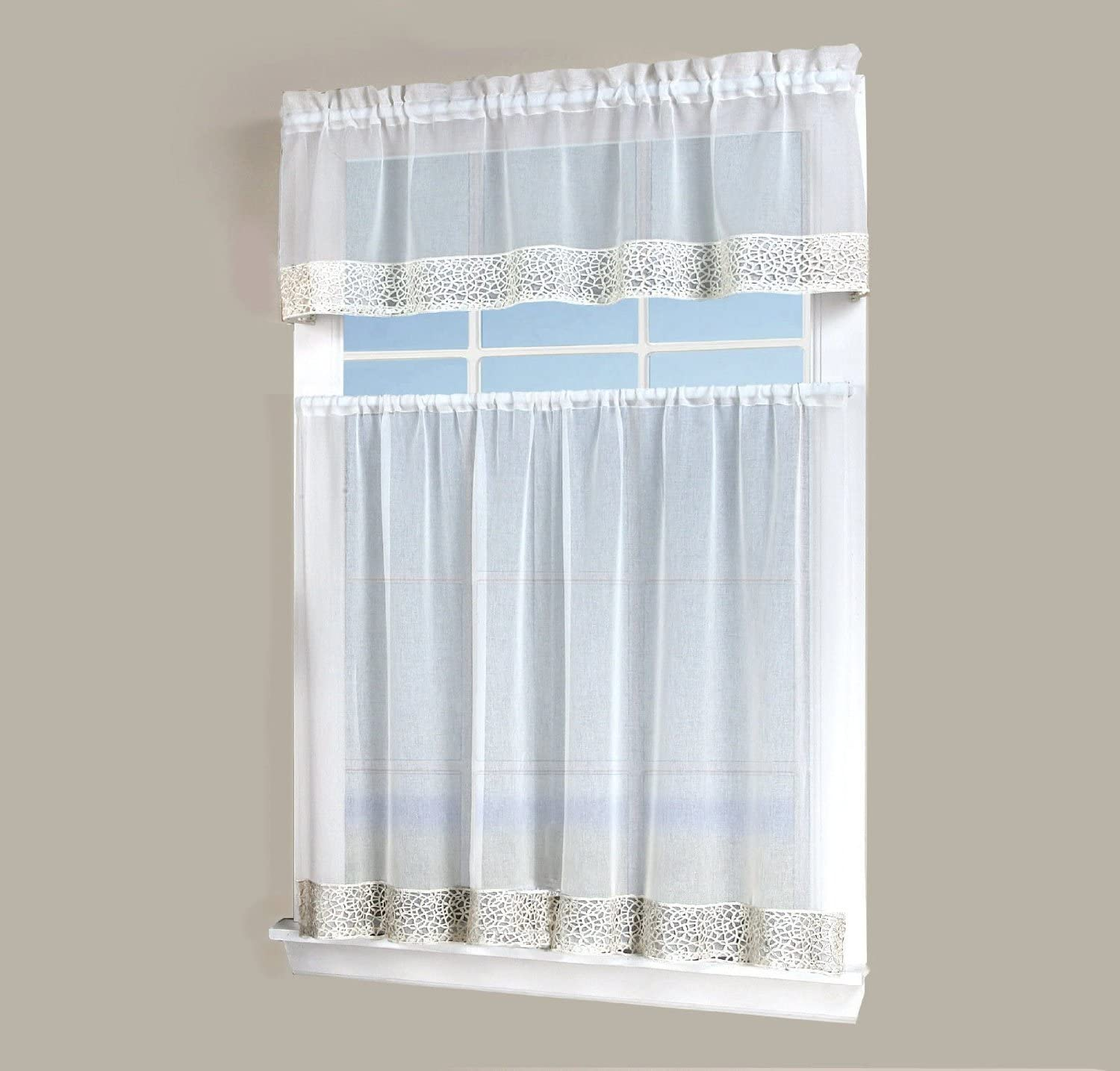 Regal Home Collections Vienna Macrame 3 Piece Kitchen Curtains Tier Set 54 Inch Wide By 36 Inch Long Beige Home Kitchen