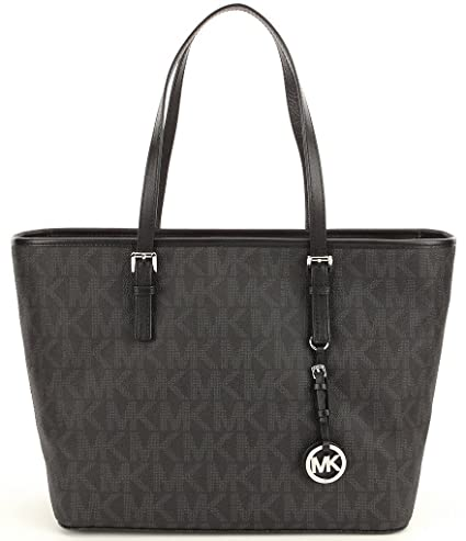 36745d299901 Image Unavailable. Image not available for. Color  Michael Kors Jet Set  Travel Top Zip Signature Logo Tote ...