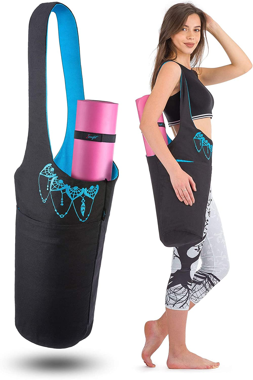 Exercise Yoga Mat Carrier with Adjustable Shoulder Strap ODODOS Unisex Yoga Mat Bag with Water Bottle Pocket and Zipper Pocket