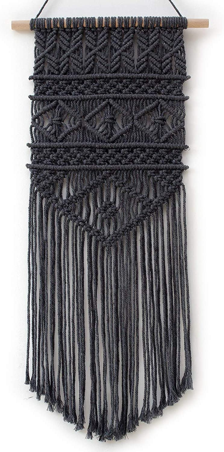 "Macrame Woven Wall Hanging, Modern Geometric Boho Chic Bohemian Home House Living Room, Bedroom, Dorm Room, Apartment, Gallery Wall Art Decor, 12"" W x 25"" L, Dark Grey"