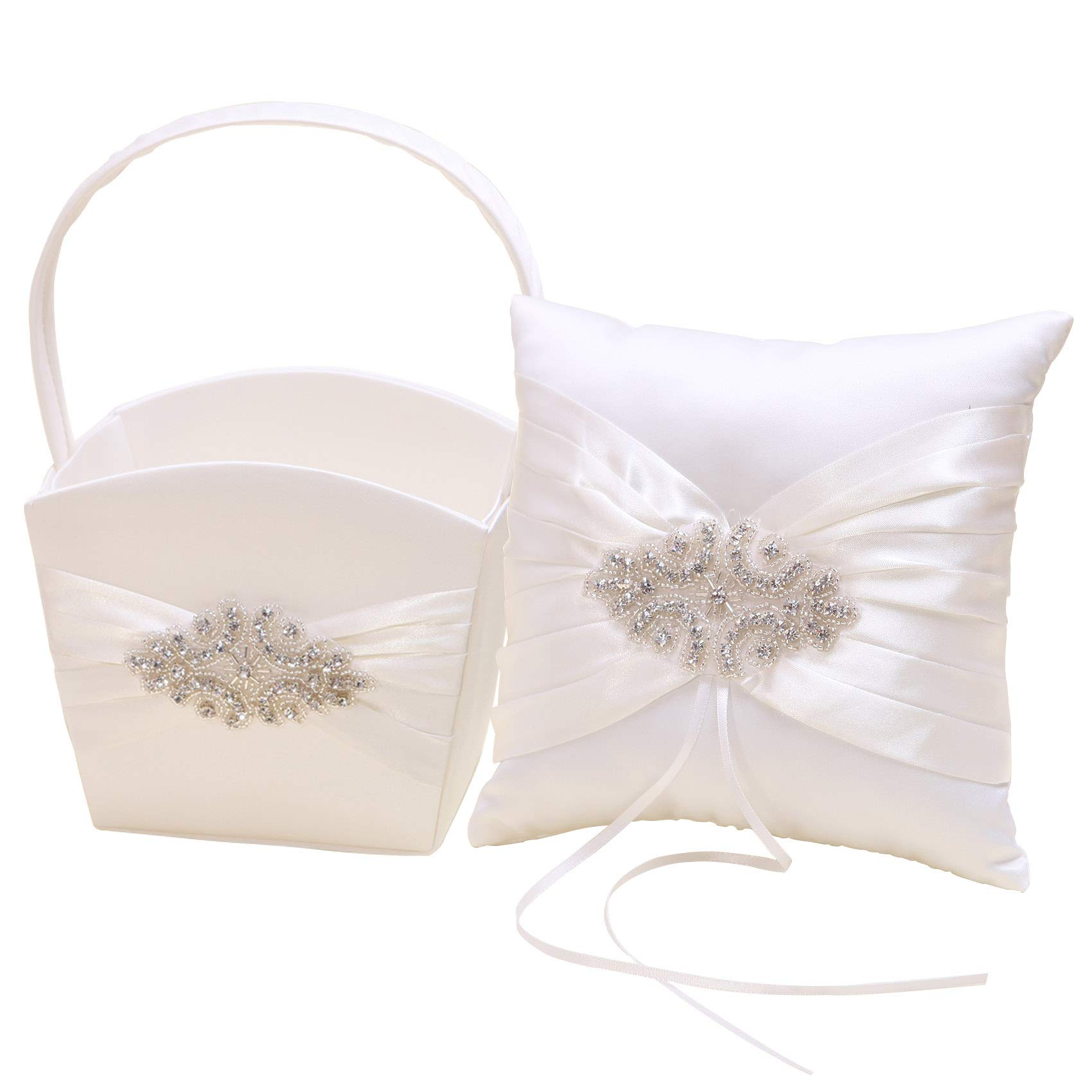KateMelon Ivory Luxe Crystal Ring Bearer Pillow and Wedding Flower Girl Basket Set