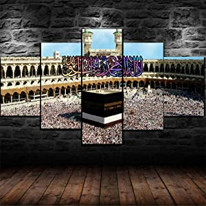 Luck7 Kaaba Stone Mecca Mosque Islamic Poster 5 Piece Canvas Print Wall Art Decor Framed Canvas Paintings Ready to Hang for Home Decorations Wall Decor-150x80cm