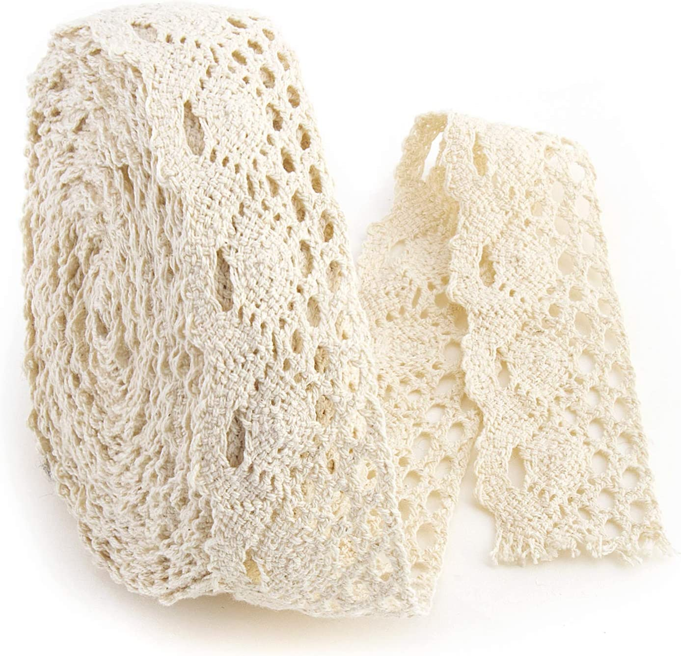 2# IDONGCAI 0.58 Wide 25 Yards//lot Cotton Cotton Lace Ribbon Edge Trim DIY Material Home Furnishing Garment Accessories DIY Material Natural Color