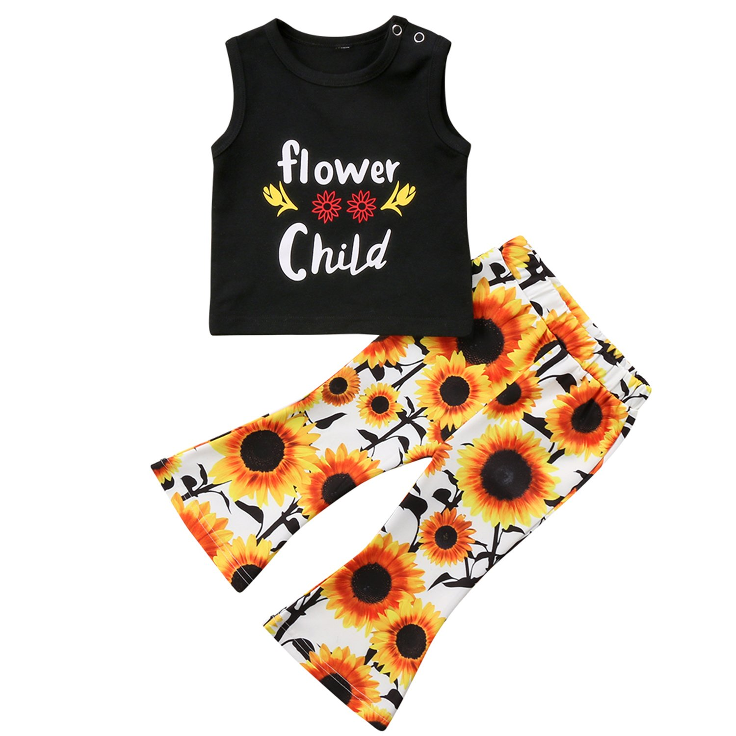 gllive Toddler Baby Girl Clothes Flower Child T-Shirt Tops + Sunflower Leggings Pants Outfit Set