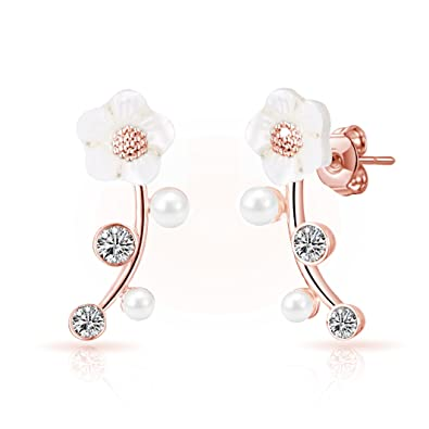 6e73870ee Rose Gold Daisy Climber Earrings with Crystals from Swarovski®: Amazon.co.uk:  Jewellery