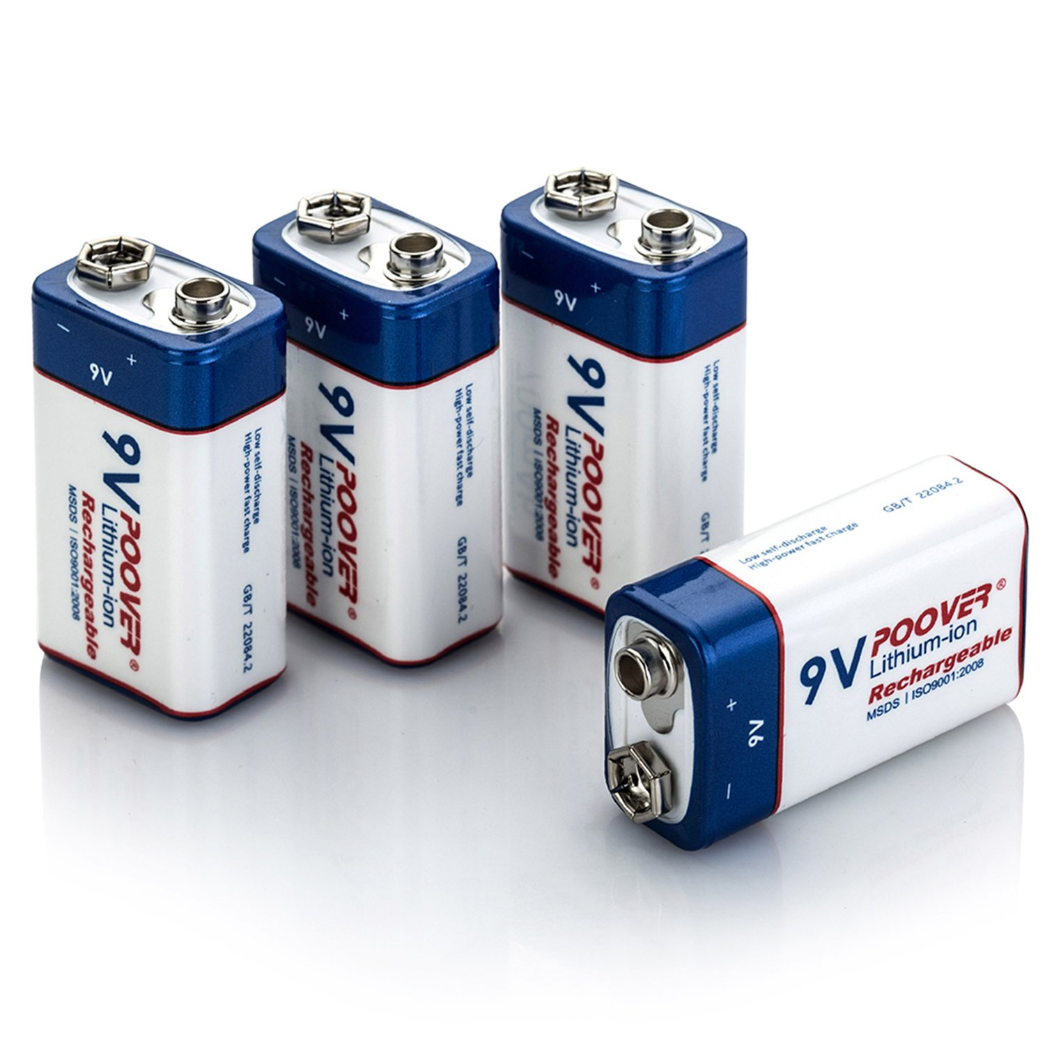 Amazon Poover 9V Battery 700mAh 6f22 9volt Lithium Rechargeable Batteries 4 Pack Li Ion 4pack 9v Home Audio Theater