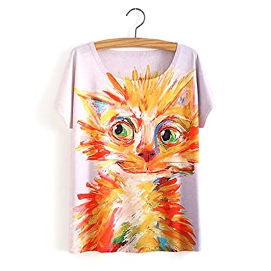 Acereima New Women Cartoon T Shirt 3D Animal Dog Print T-Shirt Harajuku Tshirt Homme