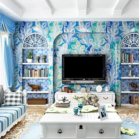 Telihone Décoration Murale De Mur De Plumes De Paon Bleu De ...
