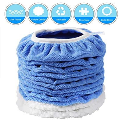 DRIBET 12 Packs Car Polisher Pad Bonnet, 7 to 8 Inch Car Polishing Bonnet Buffing Pad Including 2 Woollen Polishing Cover and 10 Microfiber Waxing Pad: Automotive