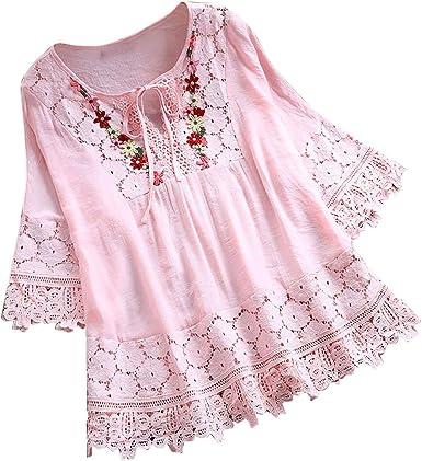 Plus Size Women Summer Vintage Floral Lace Shirt  V-Neck Loose Casual Blouse Top