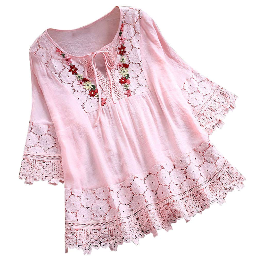 Clearance! Womens Plus Size Vintage Lace Patchwork Bow T-Shirt Casual Loose V-Neck Floral Three Quarter Blouses Top S-5XL (Pink, X-Large)